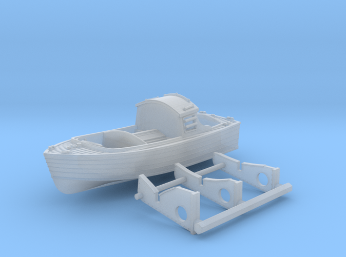 1/200 HMS Hood 16ft Fast Motor Boat with Mounts