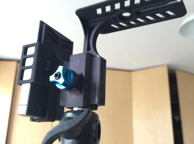 Assembled on a lighting stand (with battery but without Arrow receiver)