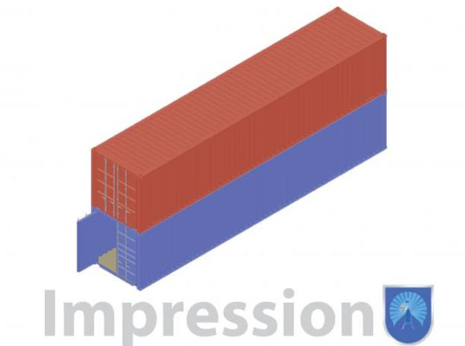 Impression of a few shipping containers (red type A)(blue type B)