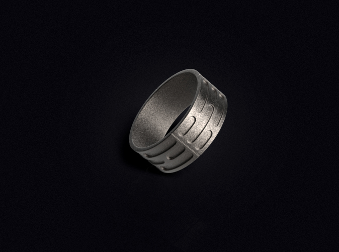 3D visualization of the ring in Stainless Steel.