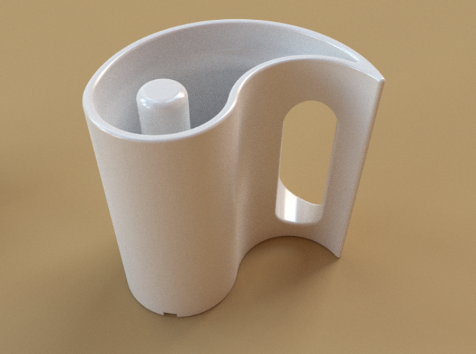 A single mug, in white ceramic.