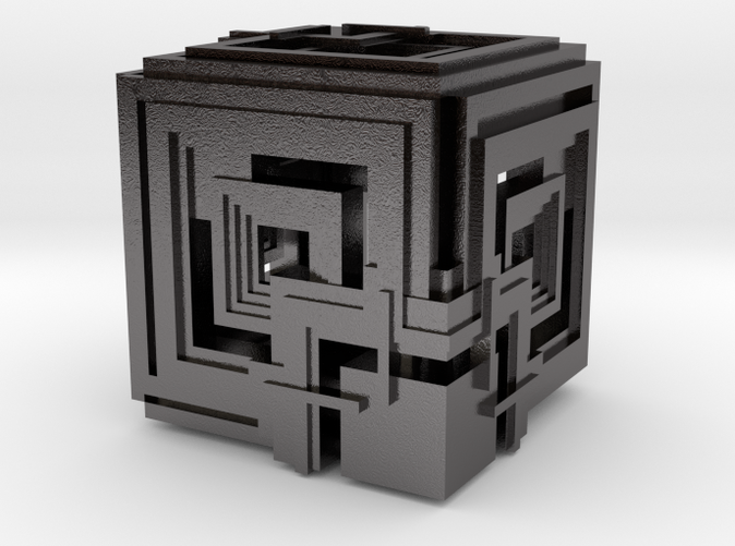Cube 04 Rendered in Polished Nickel