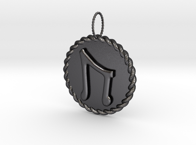 Polished Bronzed and Black Steel Nordic Rune Uruz Rope Pendant