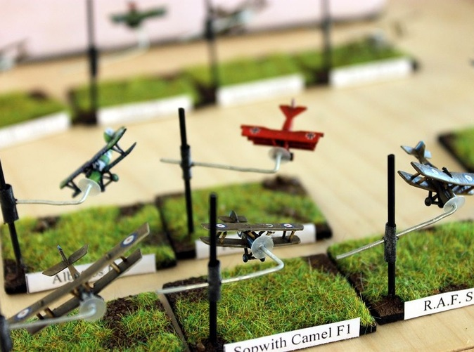 Some of the models from the starter set, along with the Sopwith Camel by Kampffleiger