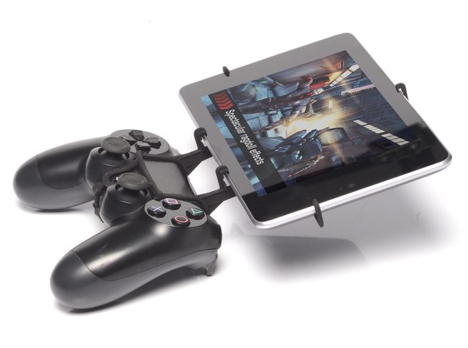 Side View - A Nexus 7 and a black PS4 controller