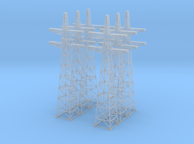 6 power line towers Z scale