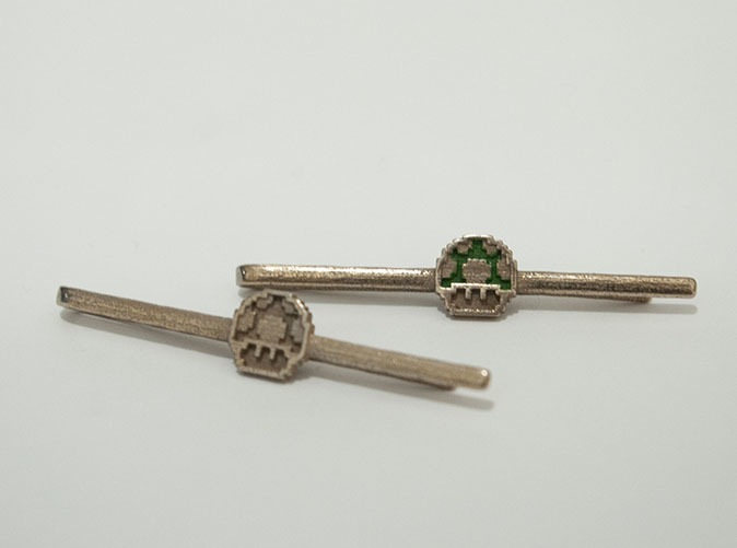 Shapeways and enameled tie clip