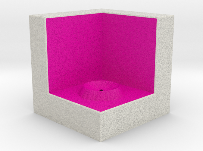 Shapeways render of Cube Display Stand for ACCEPTANCE in Full Color Sandstone