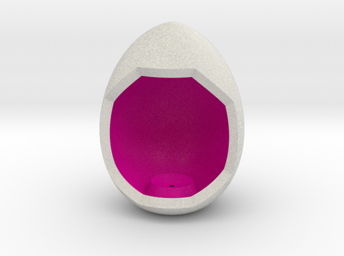 Shapeways render of Egg Display Stand for ACCEPTANCE in Full Color Sandstone