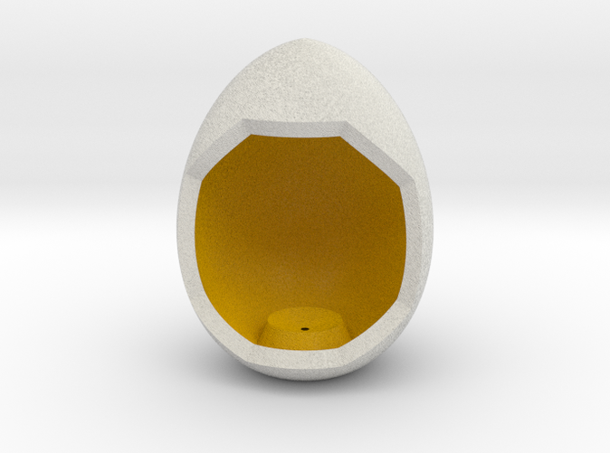 Shapeways render of Egg Display Stand for GENEROSITY in Full Color Sandstone