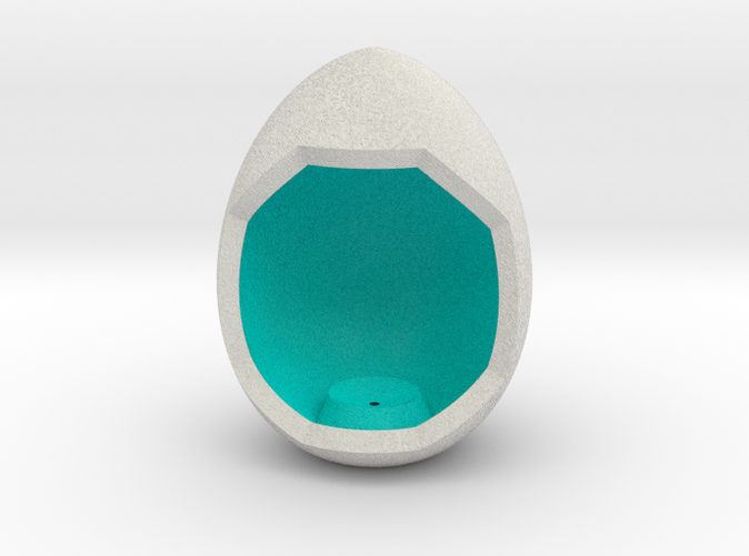 Shapeways render of Egg Display Stand for HARMONY in Full Color Sandstone