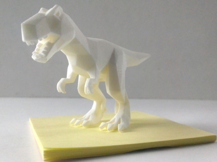 DinoWalkSim - Tyrannosaurus Rex 3d printed Sitting on a sticky note for scale
