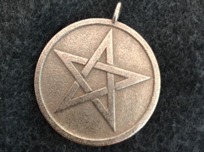Solid Pentacle Pendant 3d printed The solid pentacle pendant in stainless steel.
