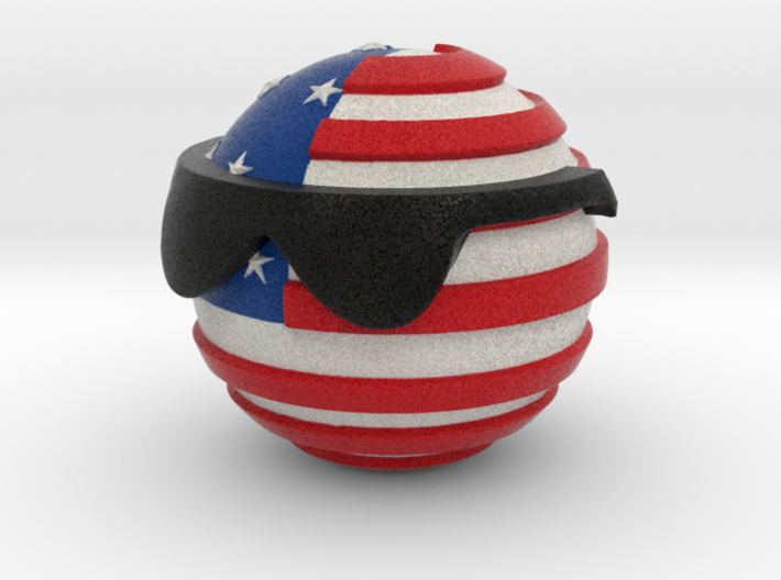 Countryballs USA with glasses 3d printed Countryballs USA - Full Color Sandstone