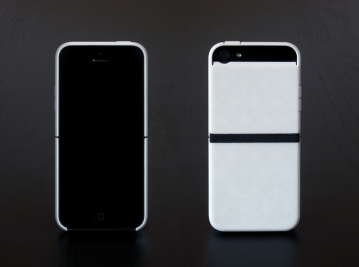 "Cariband case for iPhone 5/5s, ""holds stuff"" 3d printed White Strong & Flexible POLISHED, Front and Back"