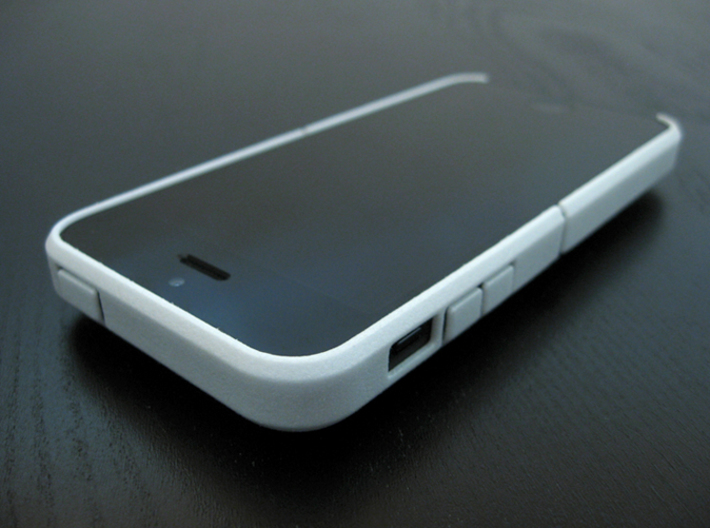 "Cariband case for iPhone 5/5s, ""holds stuff"" 3d printed White Strong & Flexible POLISHED, Front, angle left"