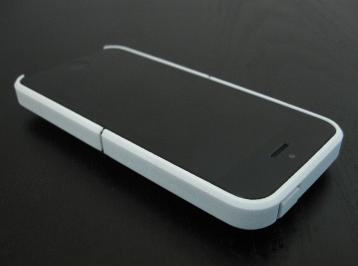 "Cariband case for iPhone 5/5s, ""holds stuff"" 3d printed White Strong & Flexible, Front and Top, right angle view"