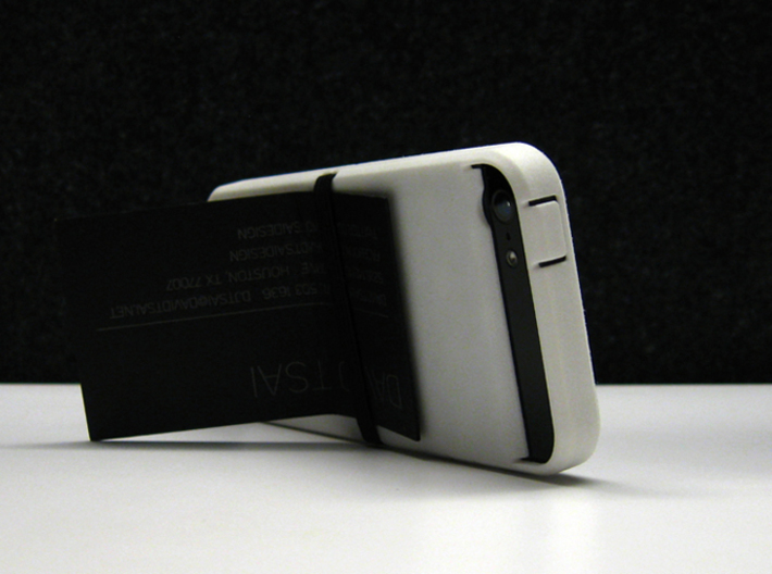 "Cariband case for iPhone 5/5s, ""holds stuff"" 3d printed White Strong & Flexible POLISHED, Back, business card as stand for landscape view"