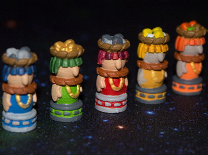Mayan Worker Tokens (24-30 pcs) 3d printed White Strong Flexible, hand-painted. Photo courtesy of user takras (on BGG).