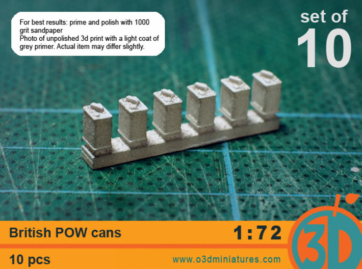 British POW cans 1/72 scale pack of 10 3d printed