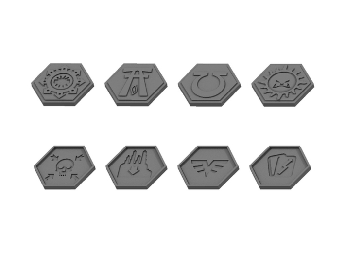 Order Tokens (32 pcs) 3d printed Renders of the upsides and downsides