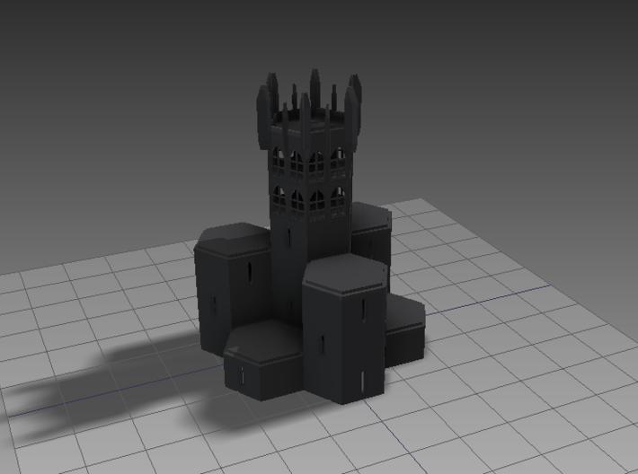 15mm Building Unit with Gothic Windows 3d printed This is what I saw as I was stacking the rotor hubs. With a bit of embellishment, it makes quite an intimidating stronghold.