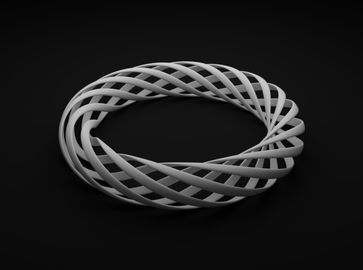 Spiral Style Bracelet 3d printed White Strong and Flexible Render View