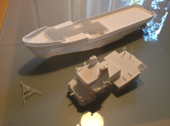 MV Anticosti, Superstructure (1:200, RC Ship) 3d printed superstructure and hull as prints in suggested materials