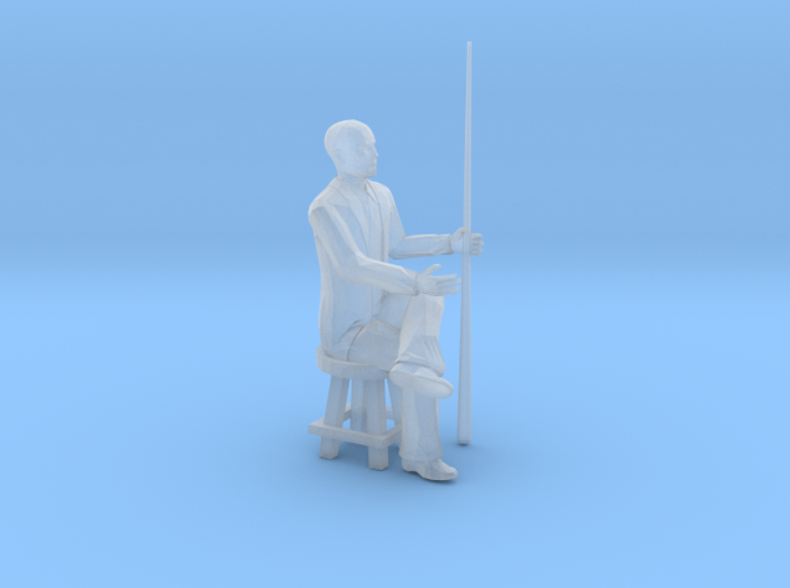 Pool Player Sitting Low Stool - HO 87:1 Scale 3d printed
