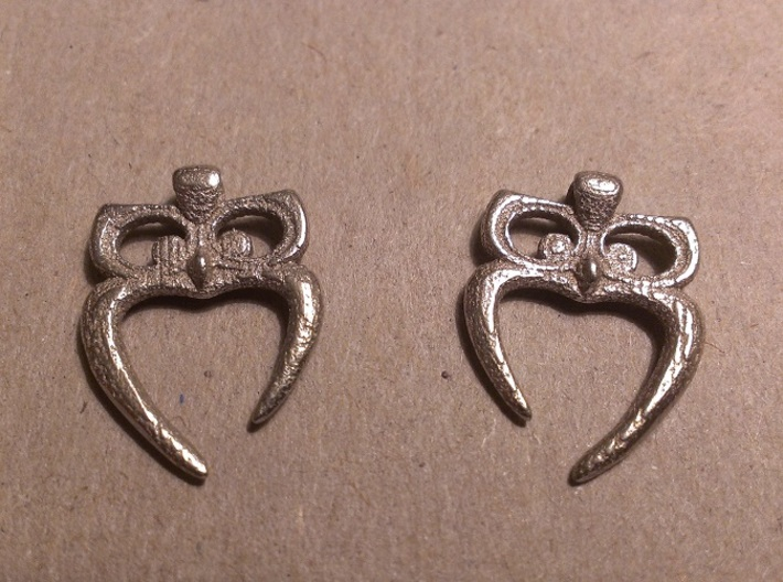 Owl Heart Earrings 3d printed Stainless Steel