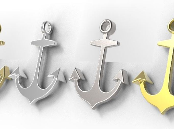 Anchor necklace/pendant...customize it! 3d printed 4 versions are available as separate listings