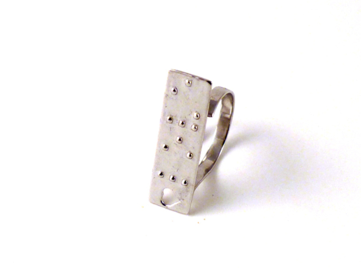 Adjustable ring. Love in Braille. 3d printed