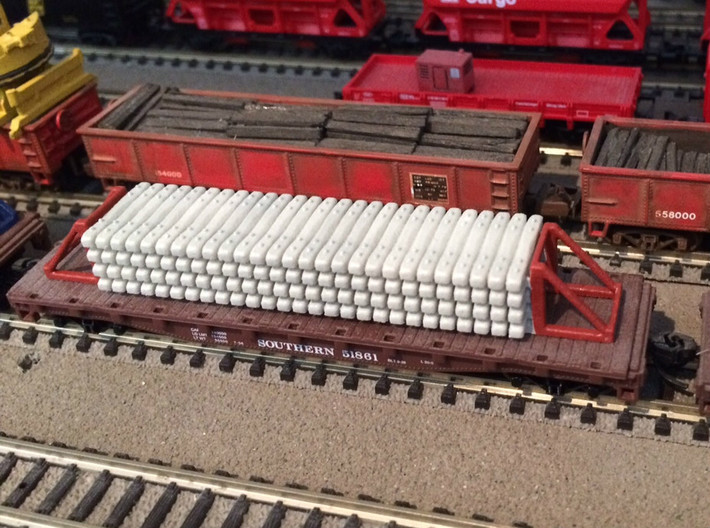 N Concrete Ties 50ft Flat Load 3d printed Painted model on a flat car