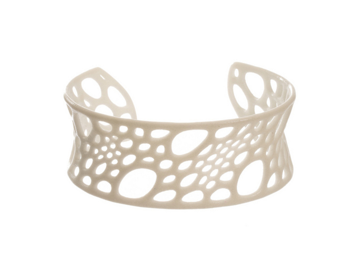 Bamboo Cuff (sz M) 3d printed in White Strong & Flexible Polished