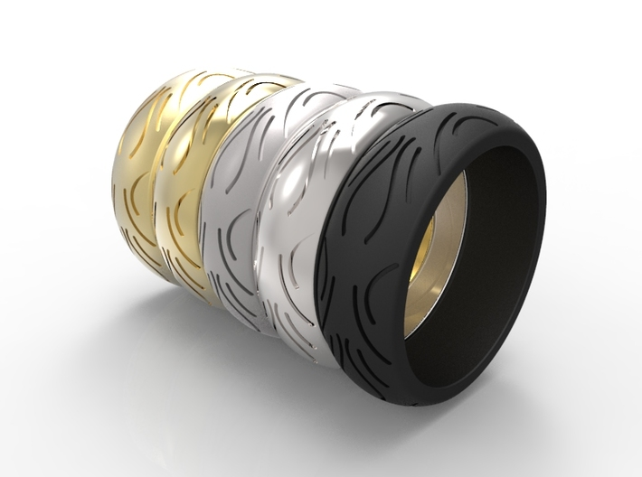 Motorcycle Low Profile Tire Tread Ring Size 11 3d printed Render of available materials