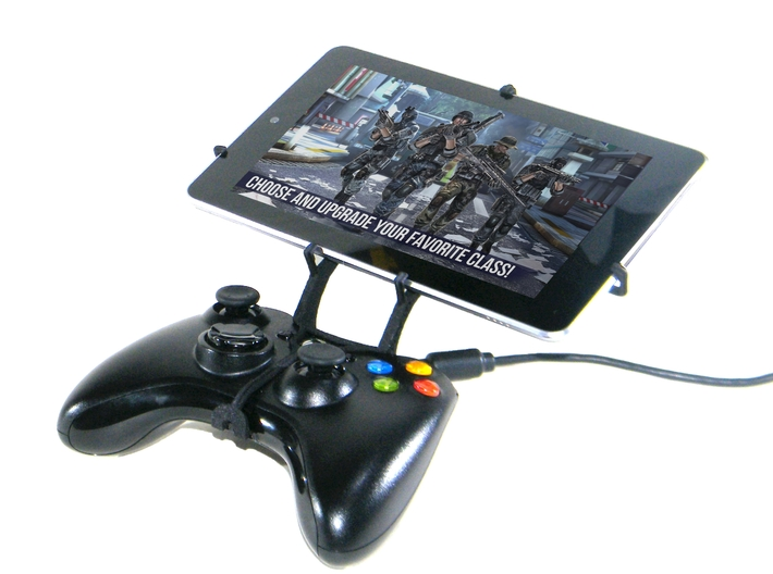 Xbox 360 controller & Jolla Tablet 3d printed Front View - A Nexus 7 and a black Xbox 360 controller