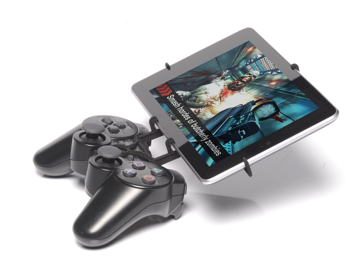 PS3 controller & Samsung Galaxy Tab E 9.6 - Front  3d printed Side View - A Nexus 7 and a black PS3 controller