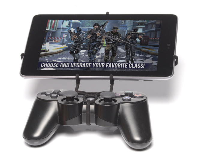 PS3 controller & Samsung Galaxy Tab E 9.6 - Front  3d printed Front View - A Nexus 7 and a black PS3 controller