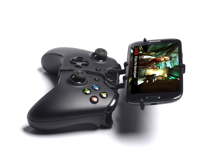 Xbox One controller & Sharp Aquos Crystal 2 - Fron 3d printed Side View - A Samsung Galaxy S3 and a black Xbox One controller