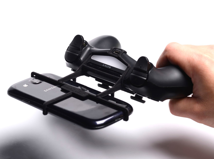 PS4 controller & Sony Xperia E4g Dual - Front Ride 3d printed In hand - A Samsung Galaxy S3 and a black PS4 controller