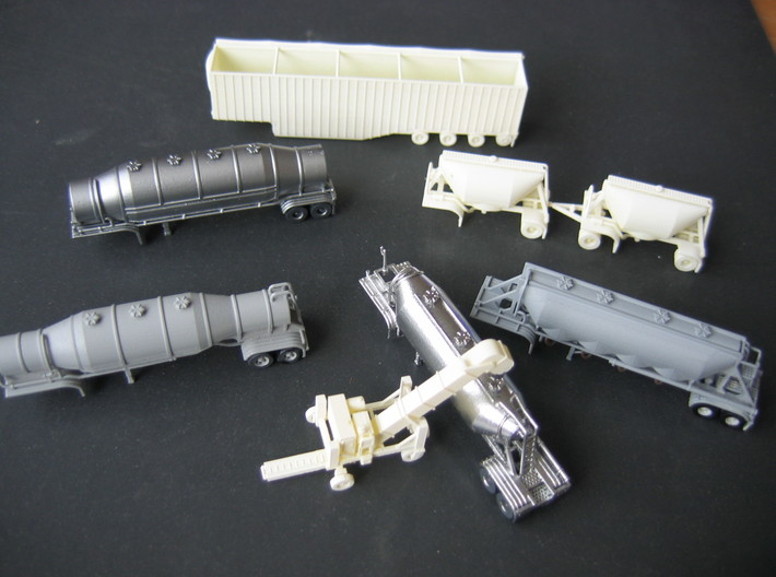 N scale 1/160 LPG 40' triple-axle, trailer 15 3d printed Some of my other N-scale models, some painted & some primered.