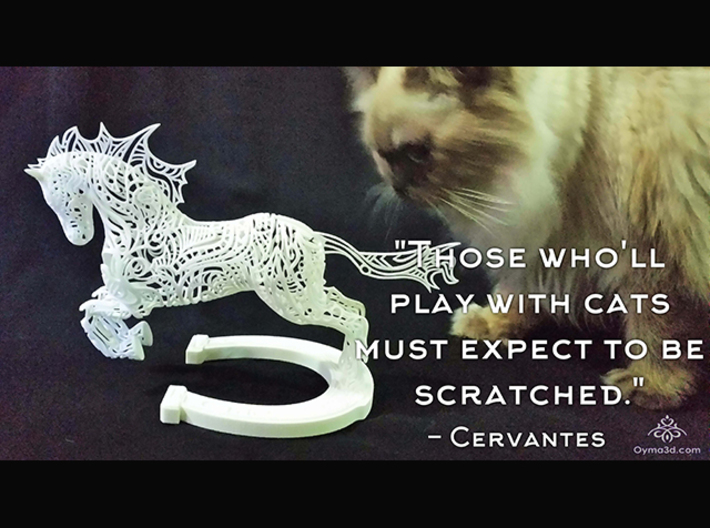 """Rocinante Horse Sculpture 3d printed """"Those who'll play with cats must expect to be scratched."""" -Cervantes"""