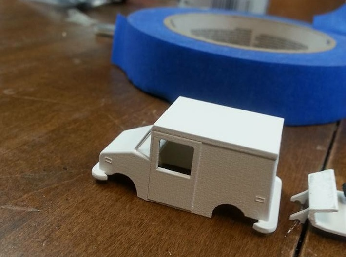 Grumman LLV USPS Truck HO scale 3d printed Modeling and photo by Anton Zillich