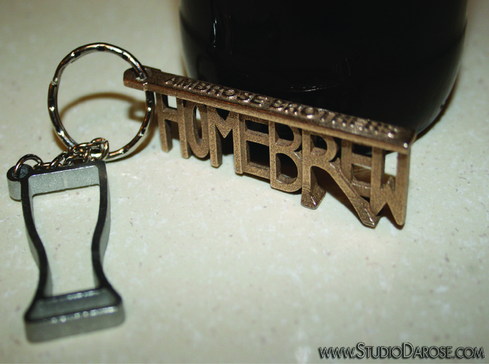 """""""HOMEBREW"""" Bottle Opener Keychain - Customizable 3d printed In Stainless Steel. The """"R"""" is the opener."""