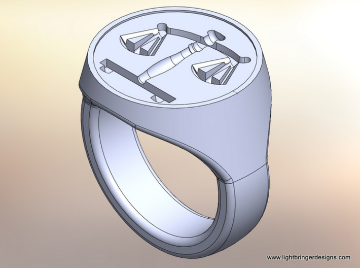 Scales of Justice Signet Ring 3d printed CAD rendering of the ring you will receive