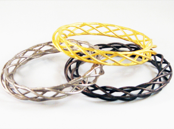 Twist Bangle A02M 3d printed Stainless Steel