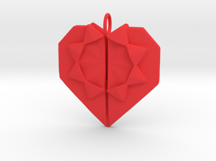 Origami Heart Pendant 3d printed