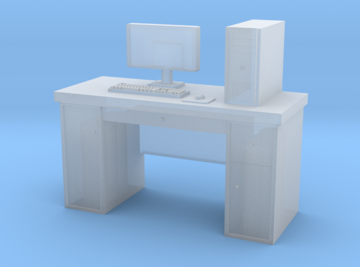 HO scale PC with desk 3d printed
