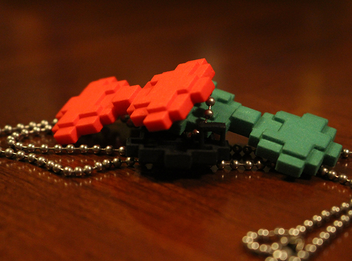 """8-bit Bowtie Necklace 3d printed A """"tie"""" for every occasion"""