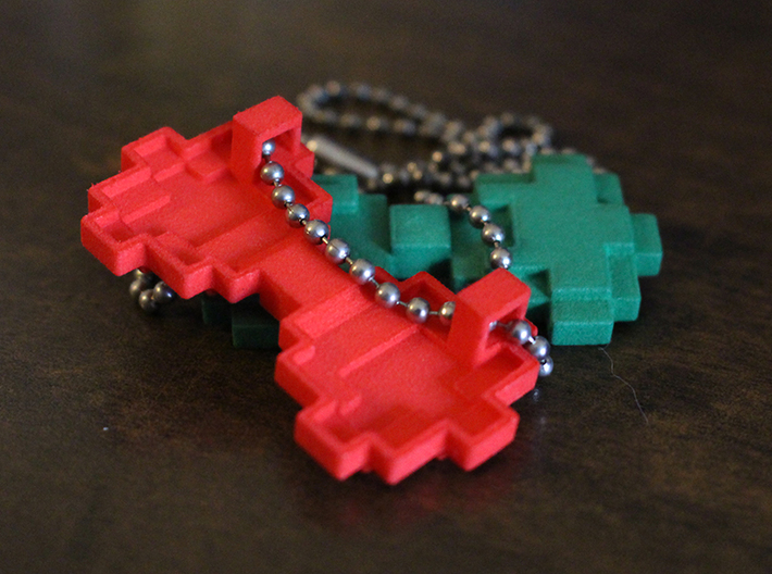 8-bit Bowtie Necklace 3d printed How the chain goes through